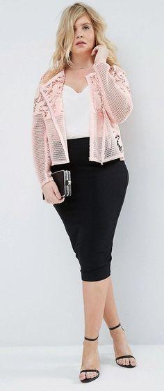 Plus Size Lace Jacket - gorgeous! Curvy Girl Fashion, Look Fashion, Plus Size Fashion, Fashion Outfits, Womens Fashion, Plus Zise, Mode Plus, Look Plus Size, Plus Size Model