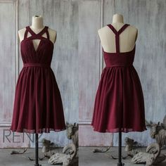 2016 Red Wine Bridesmaid dress, Chiffon V neck Party dress, Evening dress, A line Short Prom dress, formal Cocktail dress knee length(F046A)