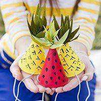 DIY Fruit-Inspired Mini Party Hats with Garnish on Studio DIY