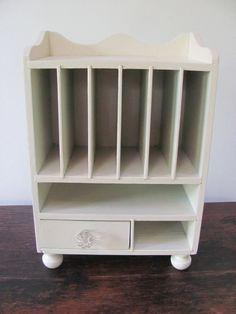 Vintage Desk Organizer Wooden Cream Shabby-theshabbychateau $ 27