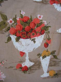 Vintage 1960s Think Spring Pink Strawberries and Fruit bowl Flowers 1 Yard Fabric Buy 2 yards get 3rd half price. $8.00, via Etsy.