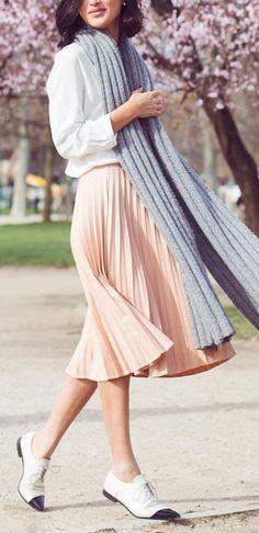 Accordion skirt and saddle shoes