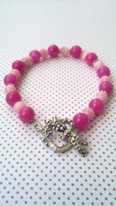 Pink glass bracelet