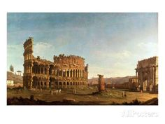 Colosseum and Arch of Constantine, Rome Giclee Print by Canaletto: