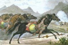 Povo Guaikuru - Litografia de Jean Baptiste Debret. início do século XIX