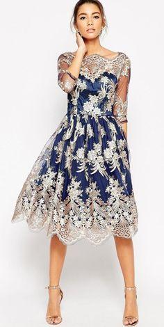 Modest metallic lace midi dress elbow length sleeves