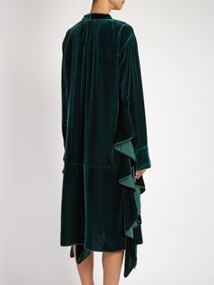 Tie-neck ruffled velvet dress | Rochas | MATCHESFASHION.COM Textiles, Green Velvet, Green Dress, Runway Fashion, Dress Skirt, High Neck Dress, Tie, Coat, Clothes