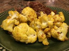 Indian Roasted Cauliflower (tumeric) - really easy and very good flavor while not masking the cauliflower flavor). Indian Dishes, Roasted Cauliflower, Masking, Recipe Box, Tandoori Chicken, Vegetables, Easy, Recipes, Top
