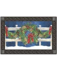 "Winter Wreath Doormat Indoor Outdoor doormat is from Magnet Works' MatMates line. This winter doormat is printed on durable polyester fabric with a non-slip, recycled rubber backing. This seasonal wreath door mat measures approximately 18"" x 30"",..."