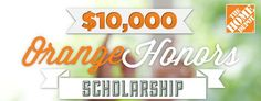 Home Depot and the Home Depot Foundation are offering a 10K scholarship to military spouses.  Deadline to submit essay is 6/28/2013.  The Home Depot is an incredible supporter of our military and veterans, as well as Operation Homefront programs. http://militaryspouse.com/contests/orangehonors/
