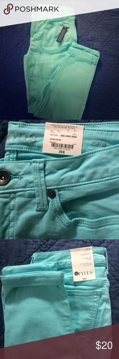 ADORABLE NWT mint skinny jeans!!! Perfect! 29/8 Beautiful mint colored NWT Stylus skinny ankle pants - have a little bit of stretch for a great fit. Size 29/8...so, so cute and perfect. Stylus Pants Skinny