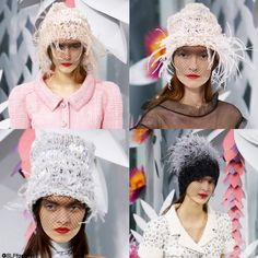 Hybrid headwear design: Chic black fishnet mesh Mask + Boho knitted wool Beanie + Glam feathers Hat. ChanelSpring Summer 2015 Haute Couture PFW. #chanelhautecouture