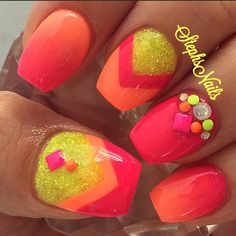SummerSunset #summernails#summerfun#cutenails#love#yellow#hotpink#coral#acrylicnails#notpolish#neonstuds#chevronangles#yellowglitter#funnails#stephset