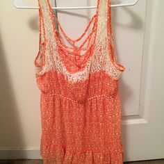 Shirt Orange and off white, lace flowers Maurices Tops Tank Tops