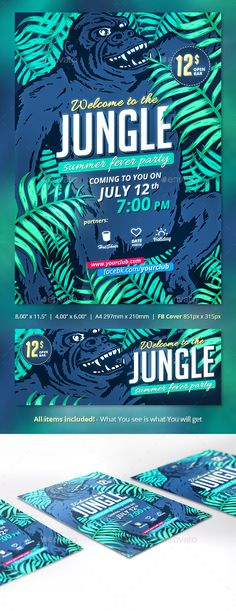 Buy Jungle Fever Summer Party by pixart_pm on GraphicRiver. Jungle Fiver Summer Party Flyer 4 sizes included, 300 dpi, CMYK, bleeds and for size) Also including F. Jungle Theme Parties, Jungle Party, Neon Jungle, Jungle Safari, E Design, Flyer Design, Graphic Design, Disney Cars Party, Summer Poster