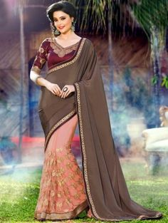 Brown and Peach Soft Net Saree with Embroidery Work