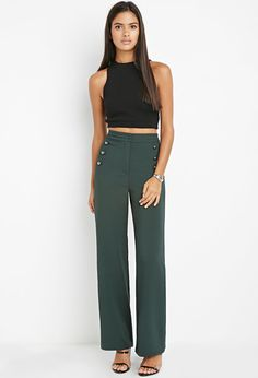 Contemporary Sailor-Buttoned Wide-Leg Pants | Forever 21 - 2000141497