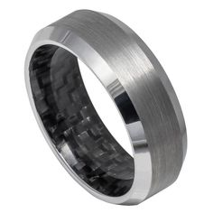 8mm Tungsten Wedding Band Black Carbon Fiber Inlay Inside, High Polished Shiny Beveled Edge