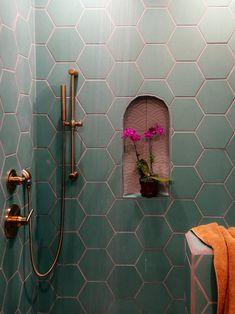 I like the complimentary tile in the nook diy bathroom decor A Family Affair: Guest Bathroom Decoration Inspiration, Decoration Design, Bathroom Inspiration, Decor Interior Design, Interior Decorating, Decor Ideas, Mexican Interior Design, Wall Ideas, Fireclay Tile