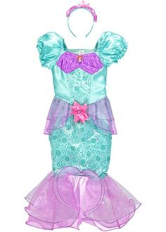 Kids Disney Ariel Dress Up Costume With Tiara
