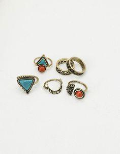*BERSHKA    Color stone rings   Anillos piedra colores