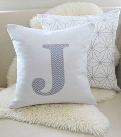 """I need an """"H""""  Chevron Initial Pillow Cover Monogram Appliqué 18 x by VixenGoods, $55.00"""