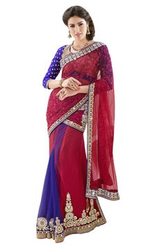 Designer Net with Satin Blue and Red Lehenga Saree Lehenga Style Saree, Blue Lehenga, Party Wear Lehenga, Lehenga Saree, Bollywood Saree, Sari, Ghagra Choli, Indian Bollywood, Satin Saree