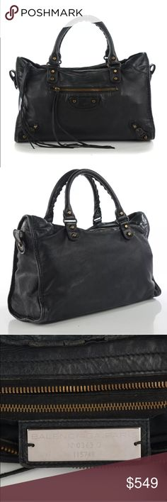 Balenciaga Agneau black classic city shoulder bag Auth BALENCIAGA Agneau classic city bag in black. Item is pre-loved but has plenty of use left! Purchased from Fashionphile. Great opportunity to get a high priced designer item at a fraction of the cost! Bag does show signs of wear but is in good condition! Feel free to ask any questions & I can provide more photos! They can be used to verify authenticity via the Purse Forum. Strap is included, no dust bag. Also listed on eBay (where I have…