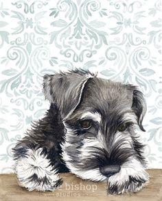 Mini Schnauzer Watercolor Painting Animal Art Schnauzer