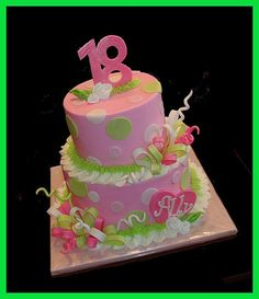 Pink & Green cake for Ally's 18th Birthday by atasteofwhimsy, via Flickr