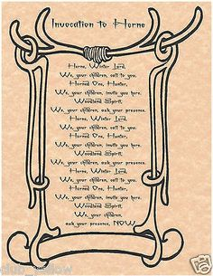 Invocation to Herne Book of Shadows Page BOS Pages Wicca Witchcraft Poster