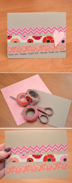 Cheap DIY Washi Tape Card Ideas by DIY Ready at  http://diyready.com/100-creative-ways-to-use-washi-tape/