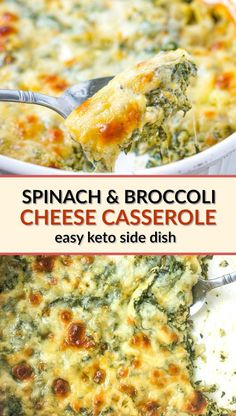 Keto Spinach & Broccoli Cheese Casserole - easy low carb side dish!