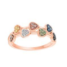 0.15 ct Multi Color Round Diamond 7 Heart 10k Solid Rose Gold Ring #Gemdepot #7HeartPromise #(I-CMRGR10333ML)