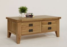 French Farmhouse Oak Coffee Table With Drawers | Hampshire Furniture