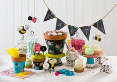 Birthday party theme idea using clay pots! Click thru for the full tutorials on how to make these projects! All are made with Handmade Charlotte Peel & Stick stencils available to buy in-store at major craft retailers #crafts #plaidcrafts #diy