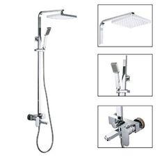 KES X6607A European Style Bathrube & Shower System Rainfall Shower Head Adjustable Shower Bar Wall Mount TRIPLE FUNCTION, Chrome, Retangular Bar