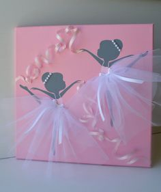 Dancing Ballerinas in Pink  and White. Nursery wall by FlorasShop