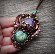 bohemian earthy fairy pendant gemstone crystal clay necklace labradorite Amethyst crystals hippie tribal spiritual jewelry
