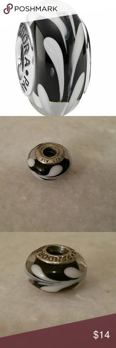 Genuine Pandora black and white murano glass bead Genuine Pandora black and white murano glass bead Pandora Jewelry