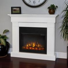 Real Flame Crawford 47-Inch Slimline Electric Fireplace - White