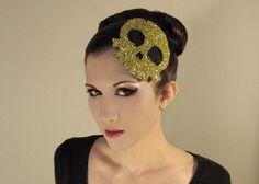 Glitter Skull Fascinator Headband by HorriblyEclectic