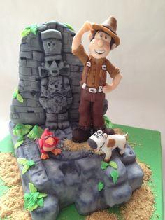 Puckycakes: Tarta Tadeo Jones Crazy Cakes, Beautiful Cakes, Amazing Cakes, Movie Cakes, Cake Accessories, Biscuit, Georgia, Wedding Topper, Fashion Cakes