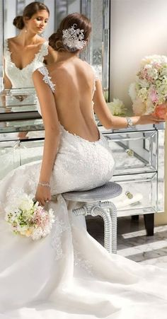 Wedding dress with a wow factor!   sexy open back wedding dress