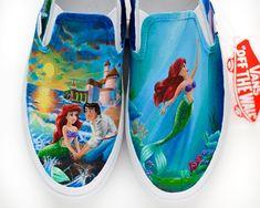 Custom Disney wedding vans the Little Mermaid Shanny's Shoes Disney Painted Shoes, Painted Vans, Painted Sneakers, Hand Painted Shoes, Disney Converse, Disney Shoes, Little Mermaid Shoes, Snoopy Shoes, Custom Vans Shoes