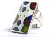 Silver Cloisonne Enamel Ring Handmade