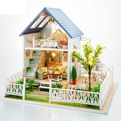 91.56$  Watch now - http://alibfm.worldwells.pw/go.php?t=32567789886 - Free Shipping Assembling DIY Miniature Model Kit Wooden Doll House,Nordic Holiday House Toy ,Furniture & Voice-activated Switch 91.56$