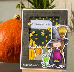 """This time I created a Halloween Shaker Scene card for my cute little witch from """"Which Way is the Candy"""" by My Favorite Things. I love MFTs stamps and enjoy colouring them in with Copics very much! To see more photos, get a list of supplies I used and if you like a talk-through how I made this card hop on over to my blog. Happy crafting! www.maikreations.de"""
