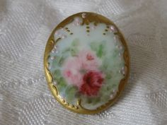 ANTIQUE Oval Hand Painted Lots of Gold & Rose Flower by abandc