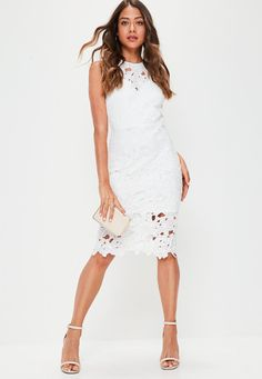 Missguided - White Crochet Lace Back Detail Midi Dress